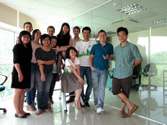 group photo of interns in office